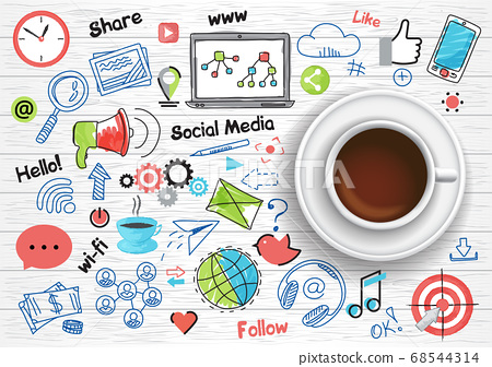 Coffee cup with set of social media concept icons 68544314