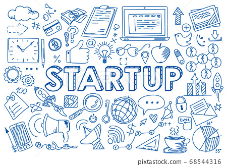 Set of startup concept icons in doodle style 68544316