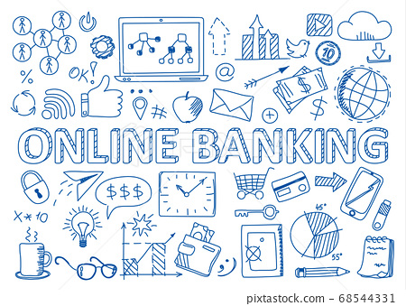 Set of online banking icons in doodles style 68544331