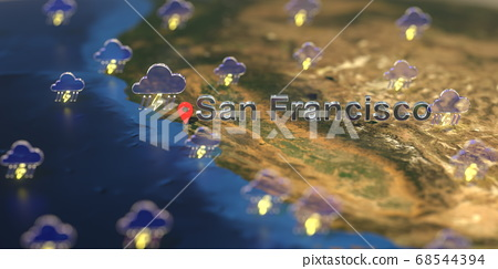 Stormy weather icons near San Francisco city on the map, weather forecast related 3D rendering 68544394