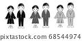 흑백 재킷 제복을 입은 학생의 남녀 68544974