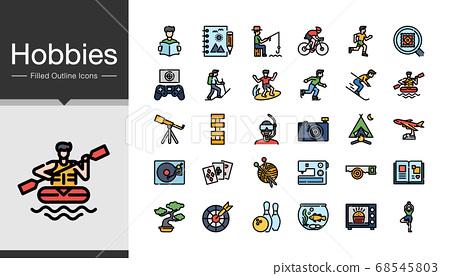 Hobbies icons. Filled outline design.  68545803
