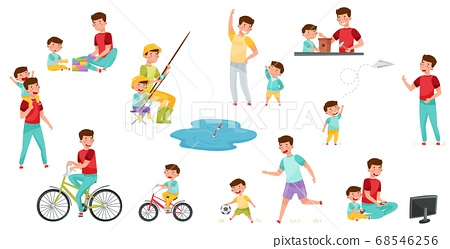 Loving Father and His Son Fishing, Playing Football, Cycling and Walking Vector Illustration Set 68546256