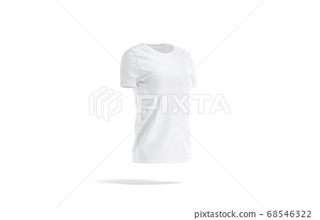 Blank white women t-shirt mock up, side view 68546322
