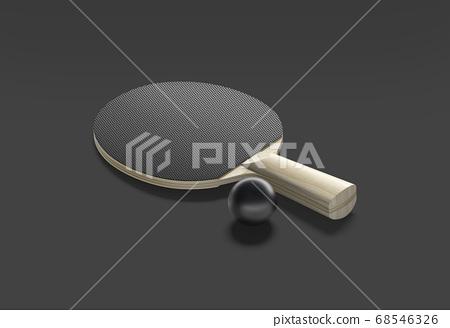 Blank black table tennis racket with ball mockup, dark background 68546326