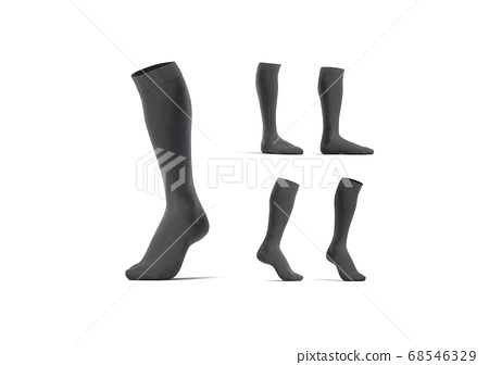 Blank black pair soccer socks toe mock up, different views 68546329