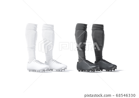 Blank black and white soccer boots with socks pair mockup 68546330
