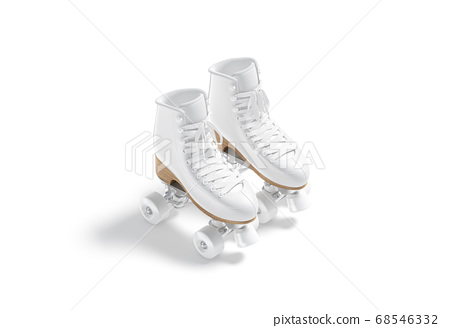 Blank white roller skates with wheels mockup pair, side view 68546332