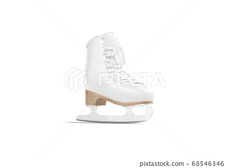 Blank white ice skates with blade and lace mock up 68546346