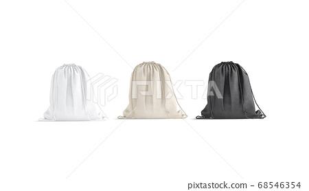 Blank black, white, canvas drawstring backpack mockup set, front view 68546354