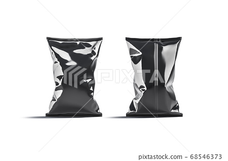 Blank black foil big chips pack mockup, front back view 68546373