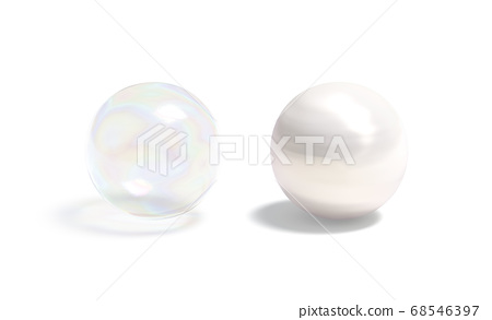 Blank transparent and opaque pearl ball mockup set 68546397