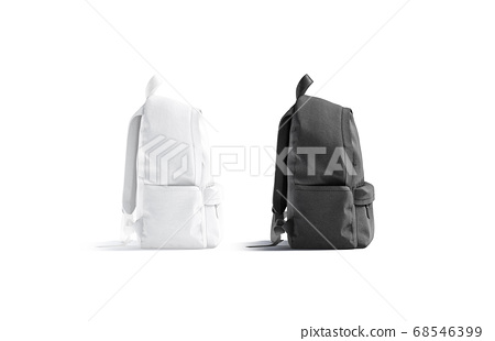 Blank black and white closed backpack with zipper mockup set, 68546399