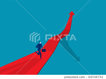 Businessman runing on the arrow red . go to target business success. 68546742