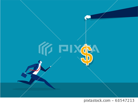 businessman running catch a dollar placed on a hook ,active income concept illustration. 68547213