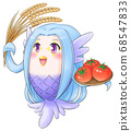Amabier-kun is happy to have a good harvest 68547833