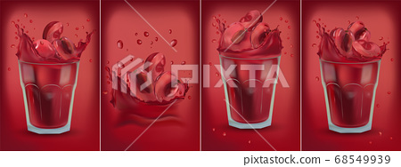 Red cherry juice in glass. Collection fresh cherry. Sweet cocktail. 3D realistic cherry. Package design. Cherry are whole and cut in half. Detailed vector Illustration 68549939