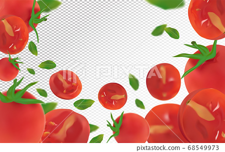 Tomato background. Fresh tomato with green leaf on transparent background. Flying tomato are whole and cut in half. Falling tomato from different angles. Nature product. Vector illustration. 68549973