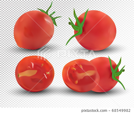 Collection red of tomato are whole and cut in half. Fresh tomato on transparent background. 3d realistic tomato from different angles. Nature product. Vector illustration 68549982