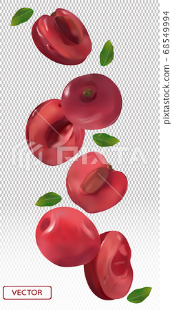 Cherry falling from different angles. Flying cherry with green leaf on transparent background. 3D realistic cherry. Vector illustration. 68549994