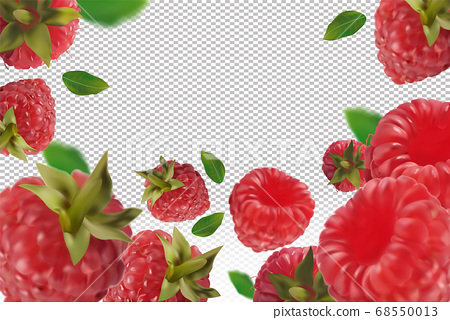 Raspberry background. Flying raspberry with green leaf on transparent background. Raspberry falling from different angles. Motion Raspberry fruits are whole. 3D realistic vector 68550013