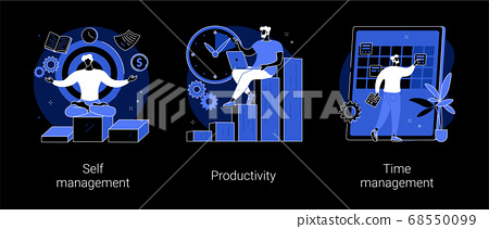Employee performance and self-organization abstract concept vector illustrations. 68550099