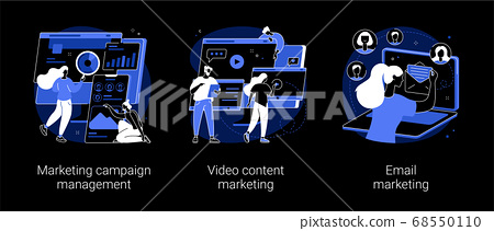 Campaign tracking and analysis abstract concept vector illustrations. 68550110