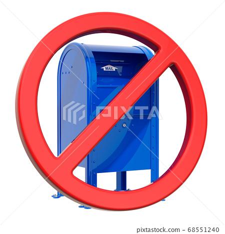 Blue Mailbox inside red forbidden sign 68551240