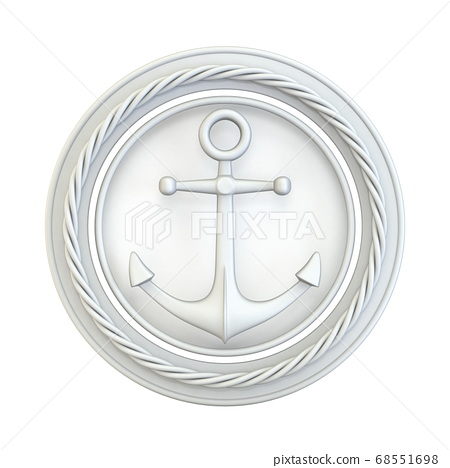 White anchor, circle and rope 3D 68551698