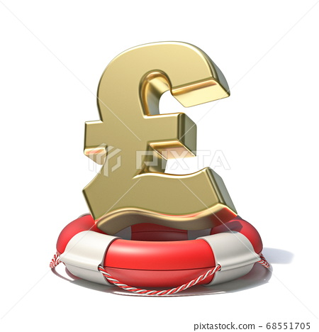 Golden pound sign in lifebuoy 3D 68551705