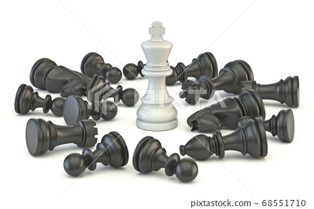 White king standing chess pieces 3D 68551710