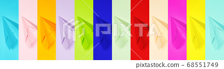 minimalism banner, set of multi-colored, paper airplanes, flatley, copyspace 68551749