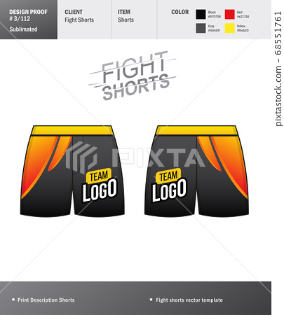 Vector fight shorts template for your design. Template sport short for your design . Print description  68551761