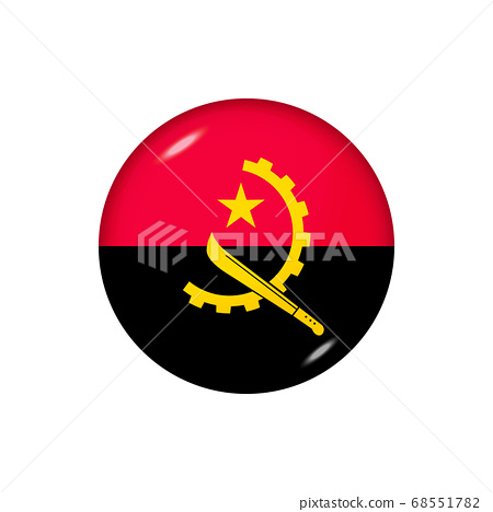 Round flag of Angola. Vector illustration. Button, 68551782