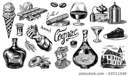 Cognac and hand with glass, bottles with labels, cigar and cocktail, sweets and farm, chocolate and 68551896