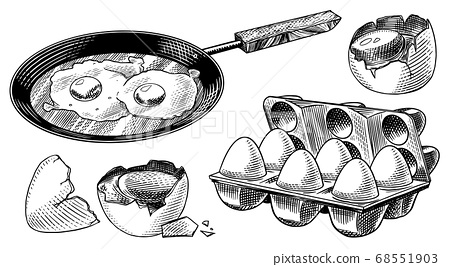 Frying pan with fried eggs and scrambled omelette, Shell and packaging. Farm product. Engraved hand 68551903