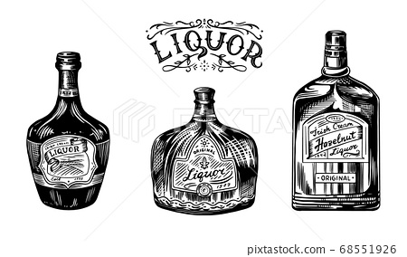 Liquor in a glass bottle. Alcoholic beverage or strong drink. Dessert wine and Retro label. Engraved 68551926