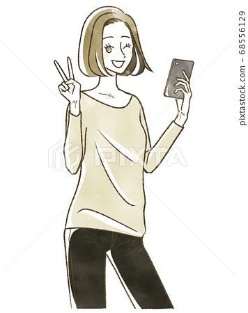 一個女人用智能手機一塊 68556129