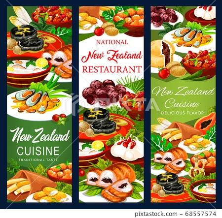 New Zeland food cuisine, vector banners set 68557574