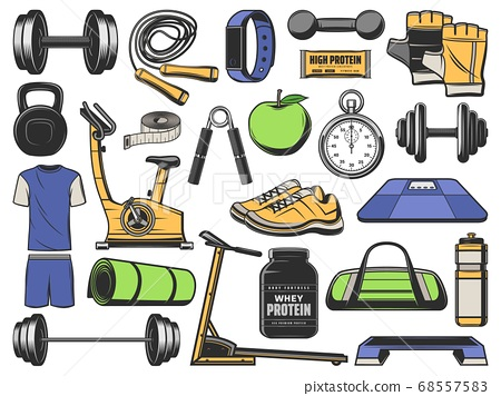 Fitness, gym objects, sport exercise equipment 68557583