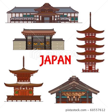 Japanese temples, pagoda shrines, Japan buildings 68557612