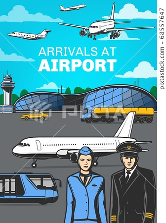 Aviation, airport airplanes and aircrew poster 68557647