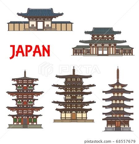Japanese temples shrines and pagodas, Ikaruga Nara 68557679