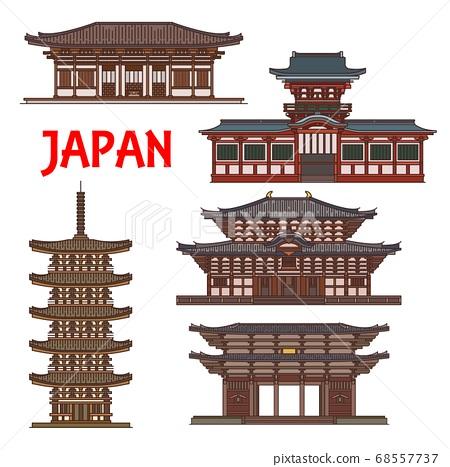 Japanese temple shrines, Japan pagoda towers, Nara 68557737