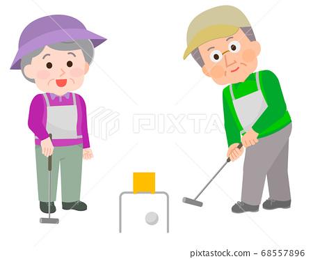 老人和婦女打門球2的插圖 68557896