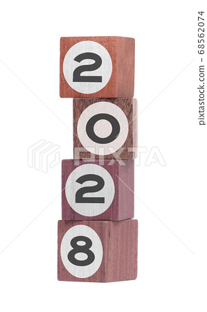 Four isolated hardwood toy blocks, saying 2028 68562074