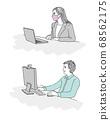 手繪風格的男人和女人以新的工作方式 68562175