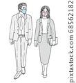 手繪風格矢量圖男人和女人穿西裝走著面具 68562182