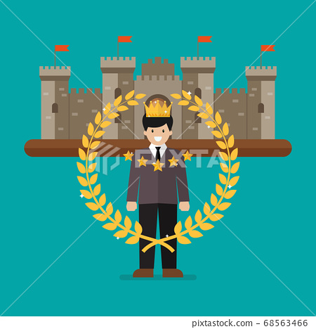 Businessman with golden wreath and castle on 68563466