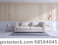 Modern and classic livingroom interior design, white and cozy room concept 68564045